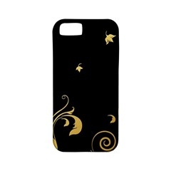 Golden Flowers And Leaves On A Black Background Apple Iphone 5 Classic Hardshell Case (pc+silicone)