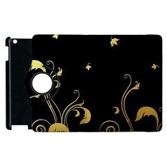 Golden Flowers And Leaves On A Black Background Apple Ipad 3/4 Flip 360 Case
