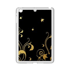 Golden Flowers And Leaves On A Black Background Ipad Mini 2 Enamel Coated Cases