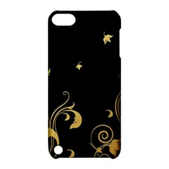 Golden Flowers And Leaves On A Black Background Apple Ipod Touch 5 Hardshell Case With Stand by Nexatart