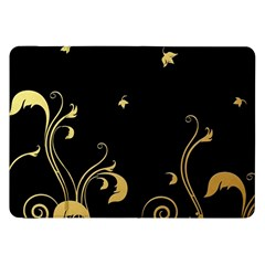 Golden Flowers And Leaves On A Black Background Samsung Galaxy Tab 8 9  P7300 Flip Case by Nexatart
