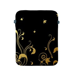 Golden Flowers And Leaves On A Black Background Apple Ipad 2/3/4 Protective Soft Cases by Nexatart