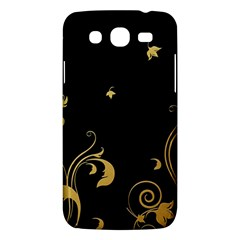 Golden Flowers And Leaves On A Black Background Samsung Galaxy Mega 5 8 I9152 Hardshell Case  by Nexatart