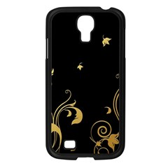 Golden Flowers And Leaves On A Black Background Samsung Galaxy S4 I9500/ I9505 Case (black) by Nexatart
