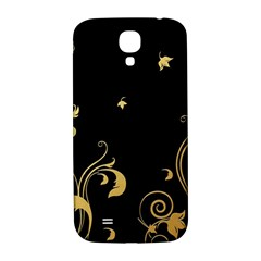 Golden Flowers And Leaves On A Black Background Samsung Galaxy S4 I9500/i9505  Hardshell Back Case