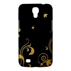 Golden Flowers And Leaves On A Black Background Samsung Galaxy Mega 6 3  I9200 Hardshell Case by Nexatart