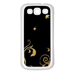 Golden Flowers And Leaves On A Black Background Samsung Galaxy S3 Back Case (white)