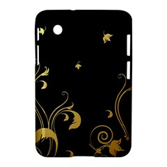Golden Flowers And Leaves On A Black Background Samsung Galaxy Tab 2 (7 ) P3100 Hardshell Case