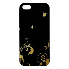 Golden Flowers And Leaves On A Black Background Iphone 5s/ Se Premium Hardshell Case by Nexatart