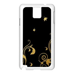 Golden Flowers And Leaves On A Black Background Samsung Galaxy Note 3 N9005 Case (white)