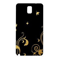 Golden Flowers And Leaves On A Black Background Samsung Galaxy Note 3 N9005 Hardshell Back Case