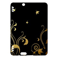 Golden Flowers And Leaves On A Black Background Kindle Fire Hdx Hardshell Case