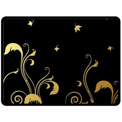 Golden Flowers And Leaves On A Black Background Double Sided Fleece Blanket (large)  by Nexatart
