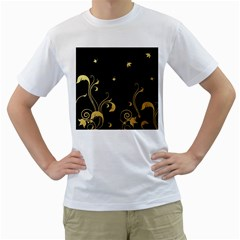 Golden Flowers And Leaves On A Black Background Men s T Shirt (white)