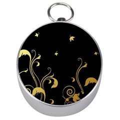 Golden Flowers And Leaves On A Black Background Silver Compasses