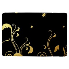 Golden Flowers And Leaves On A Black Background Ipad Air Flip