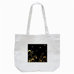 Golden Flowers And Leaves On A Black Background Tote Bag (white) by Nexatart