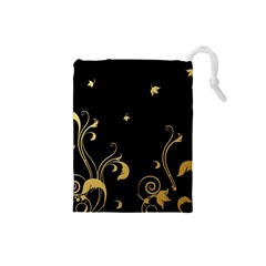 Golden Flowers And Leaves On A Black Background Drawstring Pouches (small)  by Nexatart