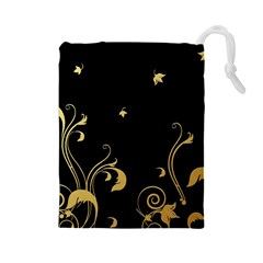 Golden Flowers And Leaves On A Black Background Drawstring Pouches (large)