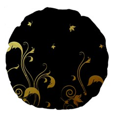 Golden Flowers And Leaves On A Black Background Large 18  Premium Flano Round Cushions by Nexatart