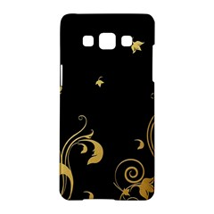 Golden Flowers And Leaves On A Black Background Samsung Galaxy A5 Hardshell Case  by Nexatart