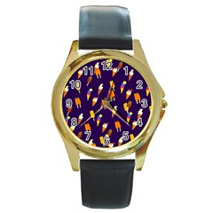 Seamless Cartoon Ice Cream And Lolly Pop Tilable Design Round Gold Metal Watch by Nexatart