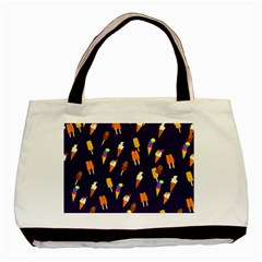 Seamless Cartoon Ice Cream And Lolly Pop Tilable Design Basic Tote Bag