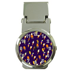 Seamless Cartoon Ice Cream And Lolly Pop Tilable Design Money Clip Watches by Nexatart