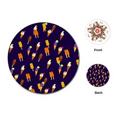 Seamless Cartoon Ice Cream And Lolly Pop Tilable Design Playing Cards (round)
