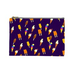 Seamless Cartoon Ice Cream And Lolly Pop Tilable Design Cosmetic Bag (large)