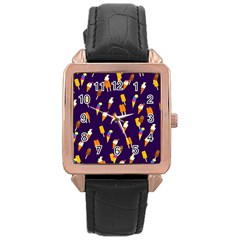 Seamless Cartoon Ice Cream And Lolly Pop Tilable Design Rose Gold Leather Watch