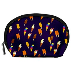 Seamless Cartoon Ice Cream And Lolly Pop Tilable Design Accessory Pouches (large)