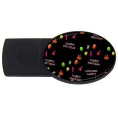 Cartoon Birthday Tilable Design Usb Flash Drive Oval (4 Gb) by Nexatart