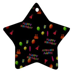 Cartoon Birthday Tilable Design Star Ornament (two Sides)