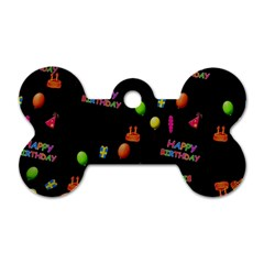Cartoon Birthday Tilable Design Dog Tag Bone (two Sides) by Nexatart