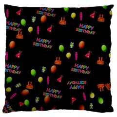 Cartoon Birthday Tilable Design Large Flano Cushion Case (two Sides) by Nexatart