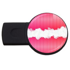 Digitally Designed Pink Stripe Background With Flowers And White Copyspace Usb Flash Drive Round (2 Gb) by Nexatart