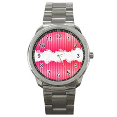 Digitally Designed Pink Stripe Background With Flowers And White Copyspace Sport Metal Watch