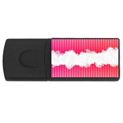 Digitally Designed Pink Stripe Background With Flowers And White Copyspace Usb Flash Drive Rectangular (4 Gb)
