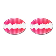 Digitally Designed Pink Stripe Background With Flowers And White Copyspace Cufflinks (oval) by Nexatart