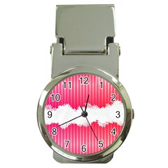 Digitally Designed Pink Stripe Background With Flowers And White Copyspace Money Clip Watches