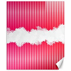 Digitally Designed Pink Stripe Background With Flowers And White Copyspace Canvas 8  X 10  by Nexatart