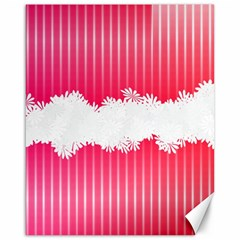 Digitally Designed Pink Stripe Background With Flowers And White Copyspace Canvas 16  X 20