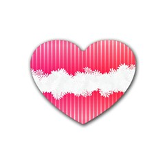 Digitally Designed Pink Stripe Background With Flowers And White Copyspace Heart Coaster (4 Pack)