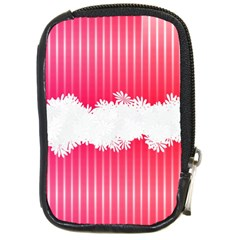 Digitally Designed Pink Stripe Background With Flowers And White Copyspace Compact Camera Cases by Nexatart