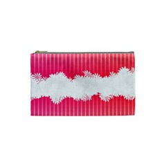 Digitally Designed Pink Stripe Background With Flowers And White Copyspace Cosmetic Bag (small)  by Nexatart