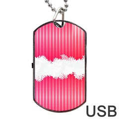 Digitally Designed Pink Stripe Background With Flowers And White Copyspace Dog Tag Usb Flash (two Sides) by Nexatart
