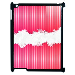 Digitally Designed Pink Stripe Background With Flowers And White Copyspace Apple Ipad 2 Case (black) by Nexatart
