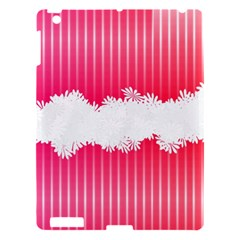 Digitally Designed Pink Stripe Background With Flowers And White Copyspace Apple Ipad 3/4 Hardshell Case