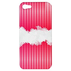 Digitally Designed Pink Stripe Background With Flowers And White Copyspace Apple Iphone 5 Hardshell Case by Nexatart